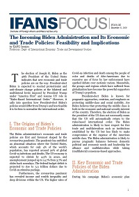 The Incoming Biden Administration and Its Economic and Trade Policies: Feasibility and Implications